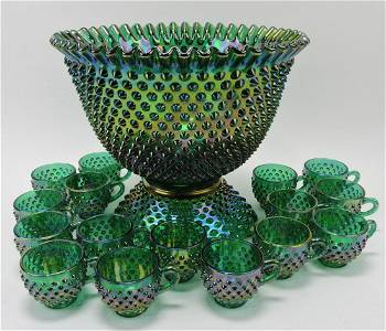 Fenton green hobnail carnival glass two