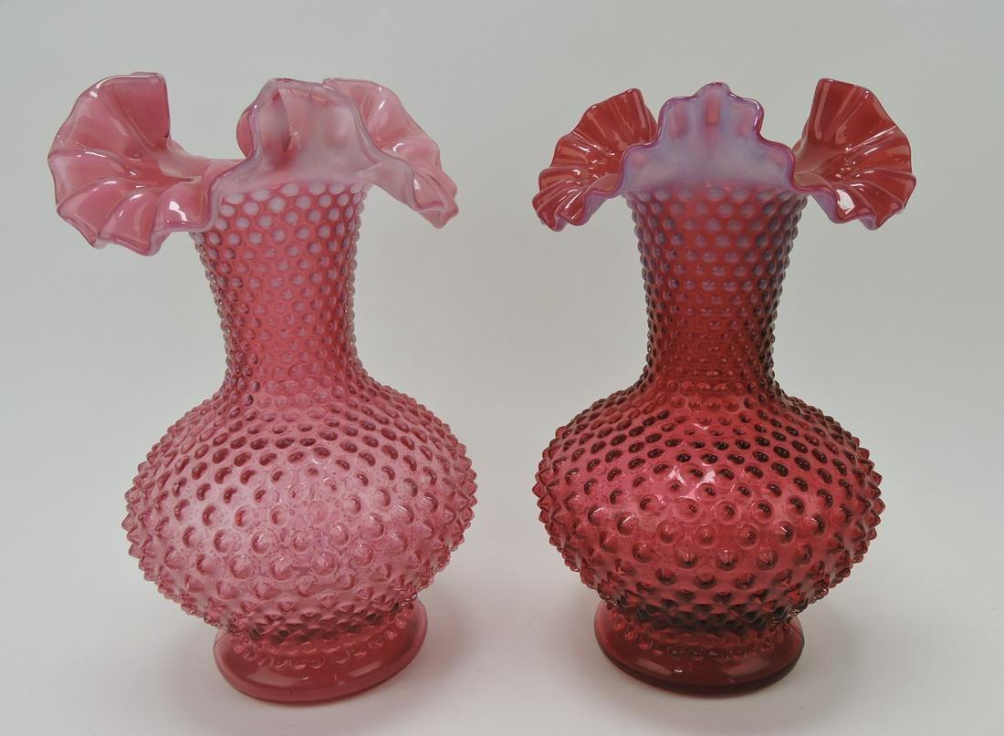 Fenton cranberry opalescent hobnail pair of