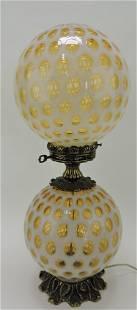 Fenton amber opalescent coin spot GWTW lamp,