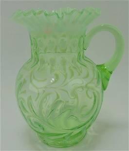 Buttons and braids green opalescent pitcher