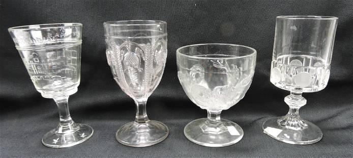 EAPG lot of 4 historical goblets - Texas