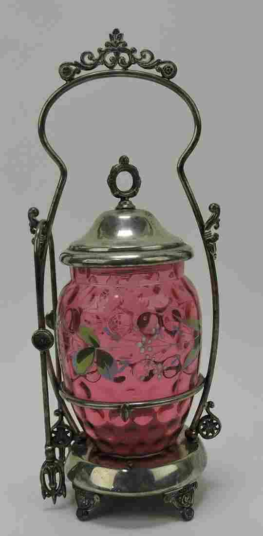 Cranberry enameled pickle castor