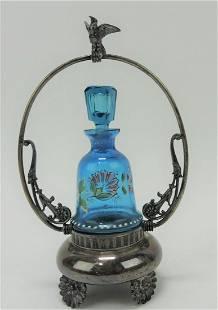 Blue enamel perfume bottle in silverplate