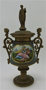 Victorian mantle urn, figural handles and
