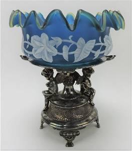 Rare sapphire blue cameo glass bride's bowl,