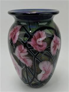 """John Lotton art glass 10"""" vase, 1993"""