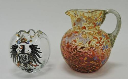 Moser enameled rose bowl and pitcher