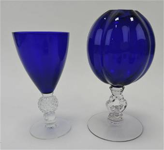 "Cobalt and crystal set of 11 - 6 3/4"""