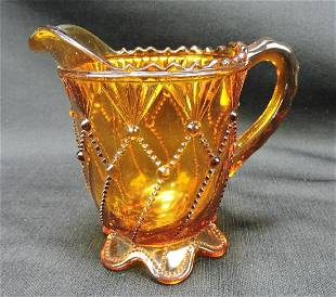 Greentown Cord Drapery amber EAPG creamer