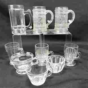 Greentown EAPG lot of 9 mugs & cups