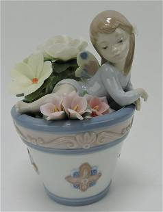 Lladro figure of girl in flower pot with