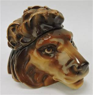 Austrian porcelain lion's head humidor,