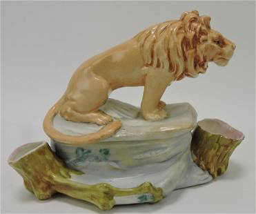 Austrian porcelain lion on rock humidor