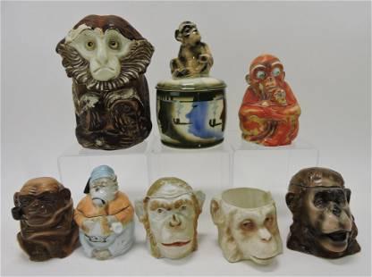 Porcelain lot of 8 monkey humidors