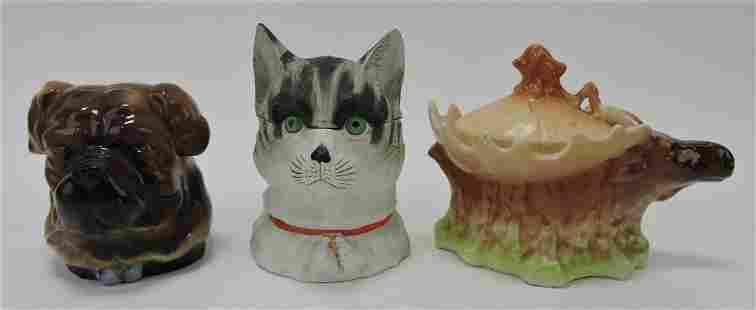 Porcelain lot of 3 humidors - dog, cat,