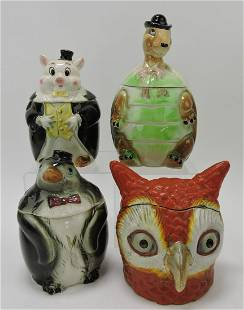 Porcelain lot of 4 humidors: pig, turtle,