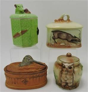 Porcelain lot of 4 humidors: dog, deer,