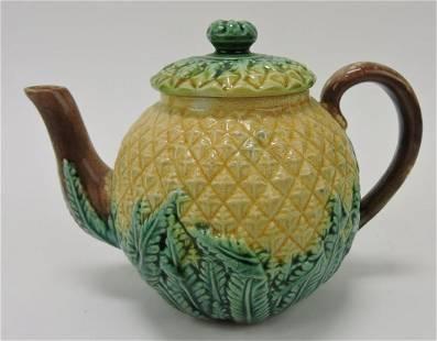 "Majolica pineapple 4 1/2"" teapot"