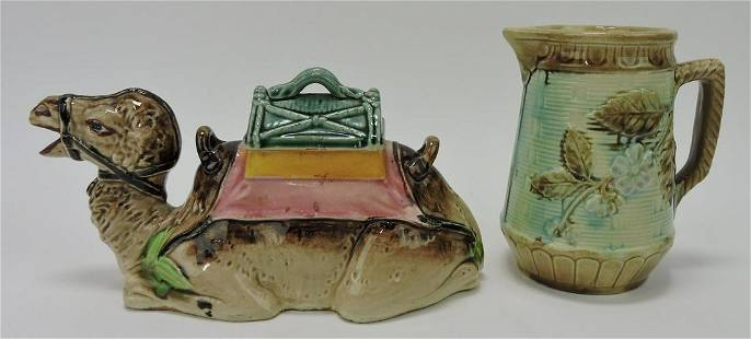 Majolica camel teapot and pitcher