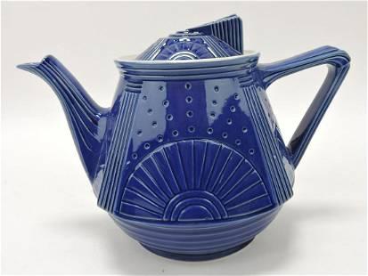 Hall China Damascus cobalt blue teapot