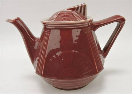 Hall China Damascus maroon teapot