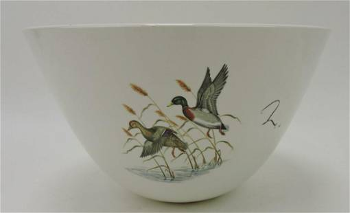 Hall China large mixing bowl with duck decoy