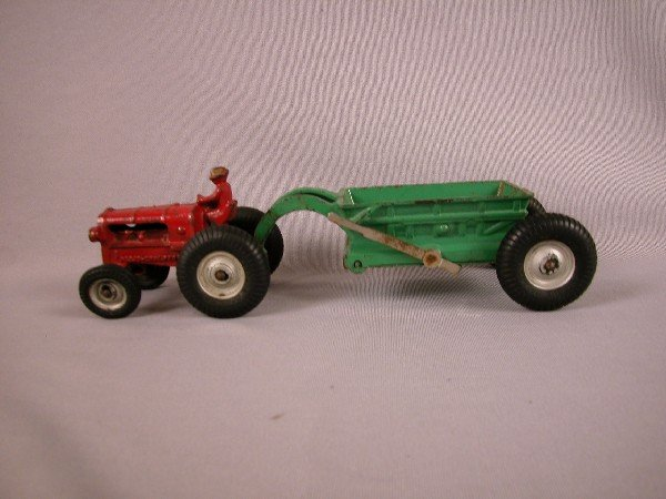 3: Arcade cast iron Allis Chalmers tractor and scraper