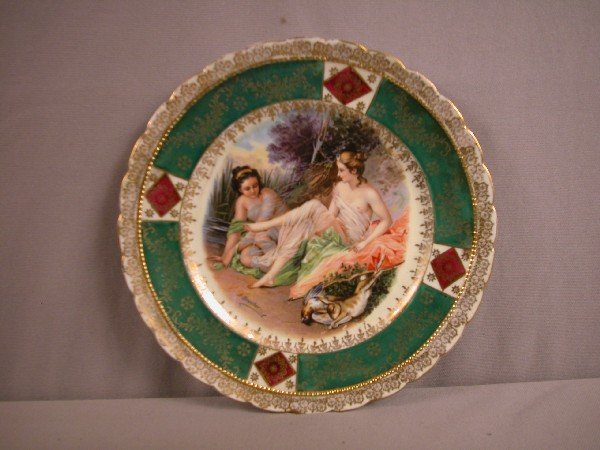 1094: German plate with nude ladies and game birds, sig