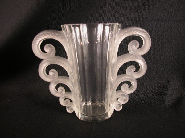 """1208: Lalique """"Beauvais"""" clear and frosted vase, 7 3/4"""""""