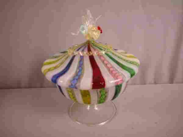 "Venetian art glass ribbon covered candy dish, 8"""