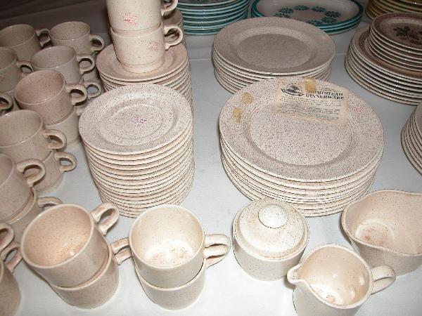 19: Fiesta HLC set of Homestead dinnerware, plates, cup