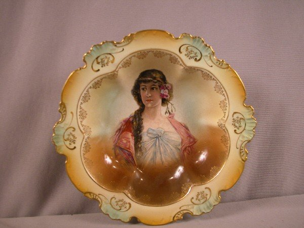 77: Fiesta Laughlin Art China deep bowl with lady, rim