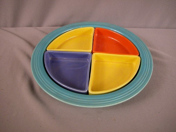 188: Fiesta Harlequin relish tray with turquoise base,