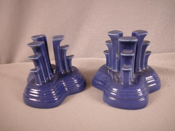 3002: Fiesta cobalt pair of tri-pod candle holders