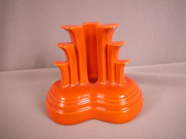 3007: Fiesta red single tri-pod candle holder