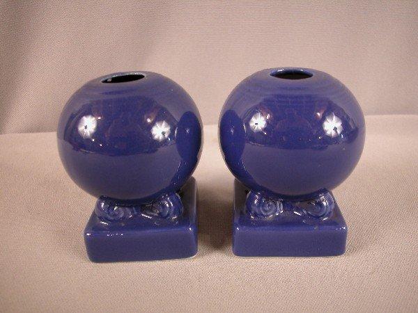 3009: Fiesta cobalt pair of bulb candle holders