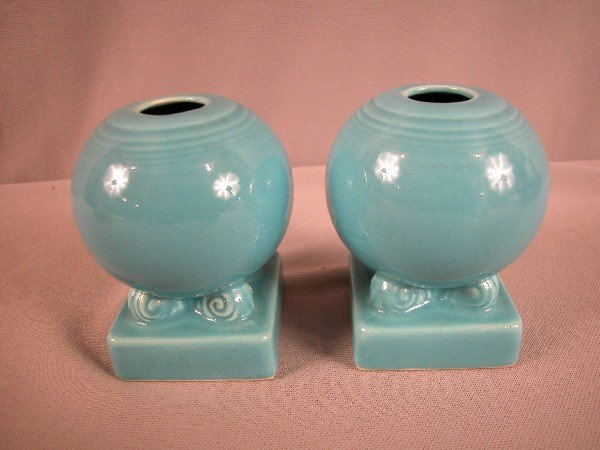 3012: Fiesta turquoise pair of bulb candle holders