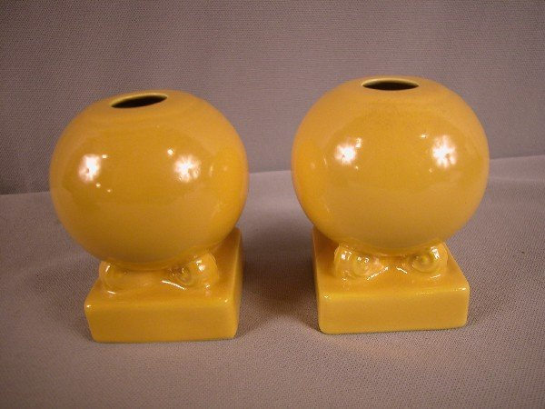 3014: Fiesta yellow pair of bulb candle holders