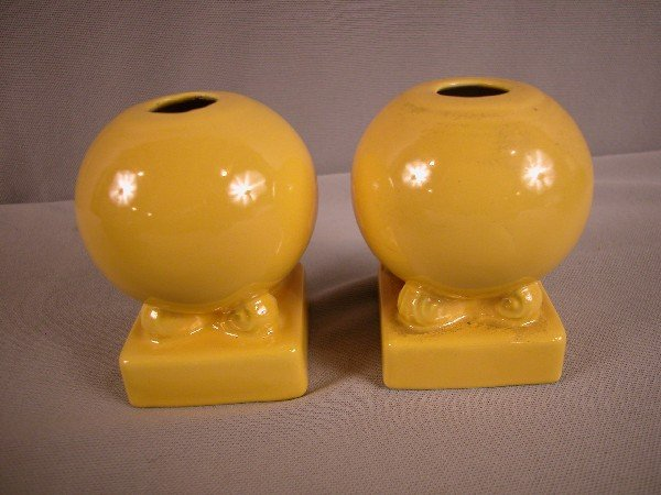 3015: Fiesta yellow pair of bulb candle holders