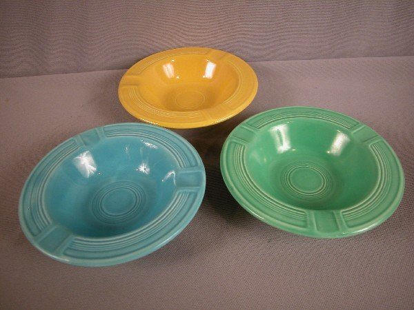 3024: Fiesta turquoise, green and yellow ashtrays