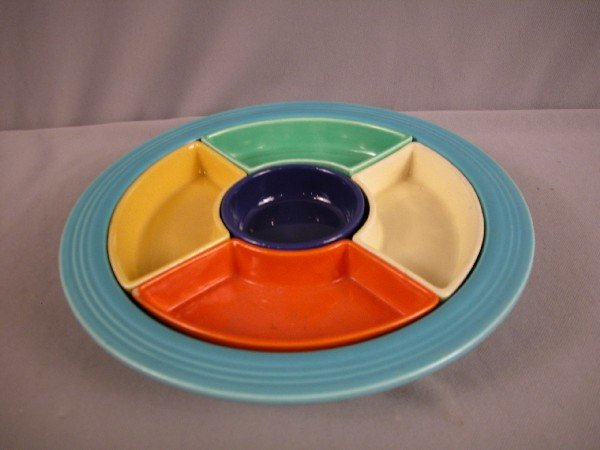3423: Fiesta relish tray, all 6 colors - turquoise tray