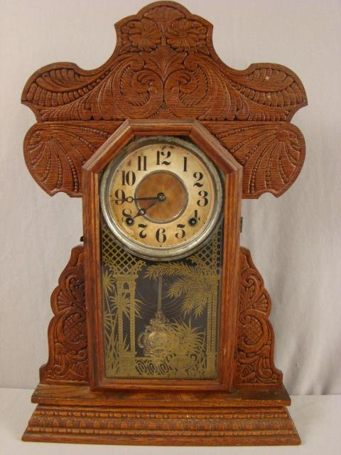 "2: Ingraham oak gingerbread kitchen clock, 22""h"