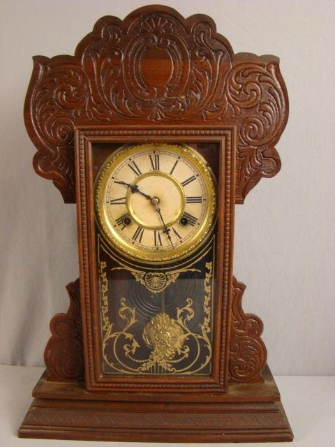 3: Waterbury oak gingerbread kitchen clock, 22""