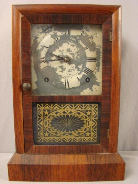 "9: Seth Thomas mantle clock, 14 1/2""h, loss of paint to"