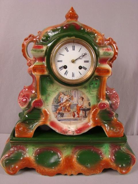 35: Strasburg Ware England porcelain mantle shelf clock