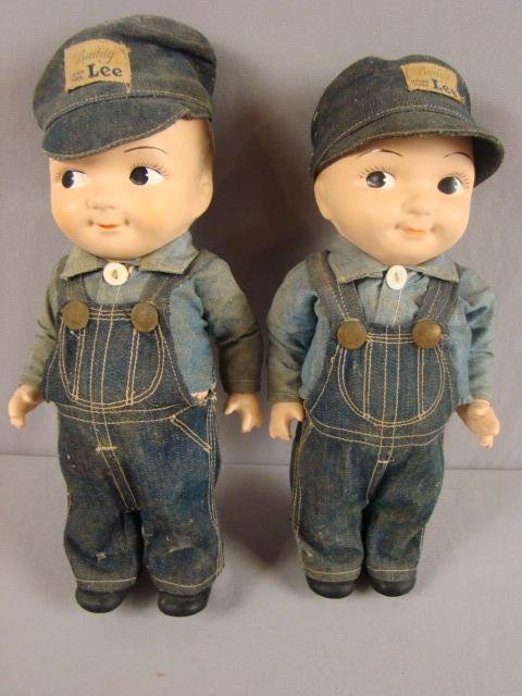 260: Pair of Buddy Lee train engineer dolls, 12""
