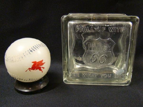 352: Phillips 66 glass block bank and Mobil Oil basebal