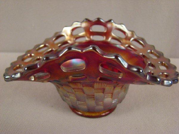 1001: Fenton red carnival glass open edge basketweave b