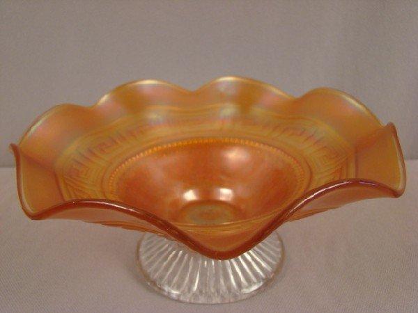 1002: Northwood marigold carnival glass greek key with