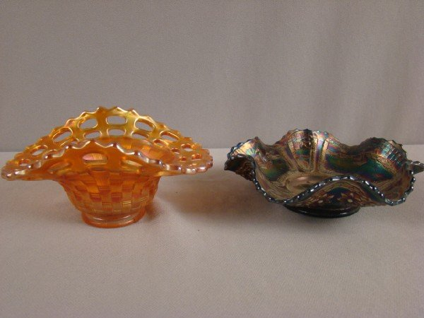 1003: Carnival glass Fenton marigold open edge basketwe